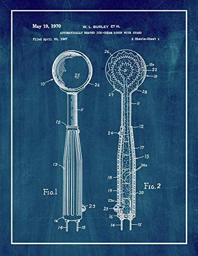 Ice-Cream Scoop Patent Print Midnight Blue with Border (5