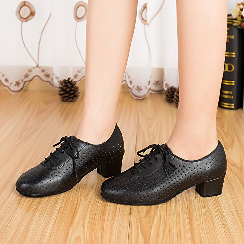 Abby By-ld013 Femmes Rumba Cha-cha Jive Pasodoble Aéré 5cm Carré Talon Bout Rond En Cuir Chaussures De Danse Noir