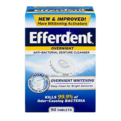 Efferdent PM Overnight Anti-Bacterial Denture Cleanser Tablets 90 ea (Pack of 4)