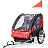 Merax 2-in-1 Collapsible 2-Seater Double Child Bicycle Trailer (Red)