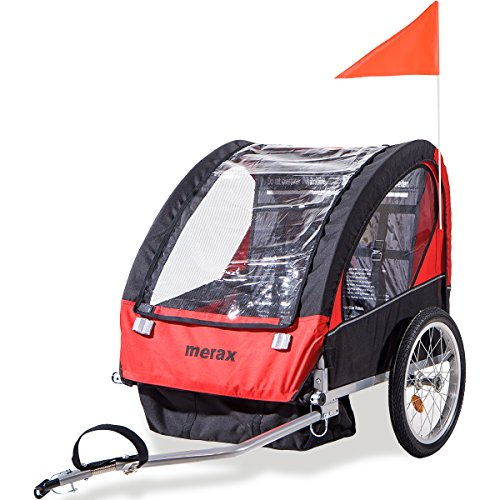 Merax 2-in-1 Collapsible 2-Seater Double Child Bicycle Trailer (Bike Child Trailer)