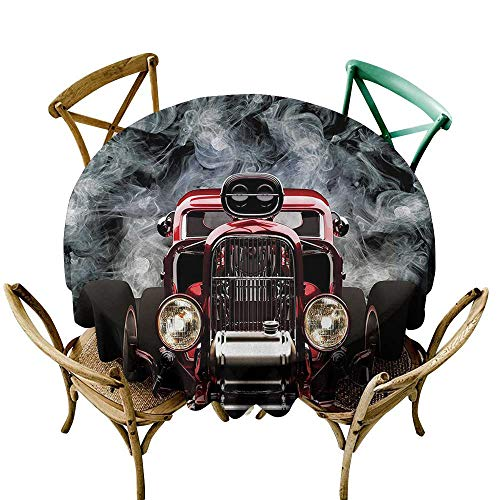 Jbgzzm Restaurant Tablecloth Classic Old Cars Decor Collection Vintage American Hot Rod Roadster with Smoke Background Race Art Pictures Picnic D35 Black ()