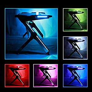 Kinsal Gaming Desk Computer Desk Table With Fighting LED Ambience Lighting (7 adjustable lighting surround your desk), Racing Table E-sports Durable Ergonomic Comfortable PC Desk (6 Color+RGB) from Kinsal