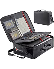 ROLOWAY Fireproof Document Bag (17 x 11.8 x 5 inch) with Lock, Fireproof Document Safe Organizer, Fireproof File Storage Bag, Fireproof Bag with Multi-layer Portable File Organizers for Travel (Black)