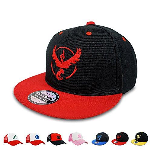 Go Team Go Costume - PopCrew Embroidered Team Trainer Hat for Anime Cosplay Costume, Trucker, Snapback Cap (Team Valor S)