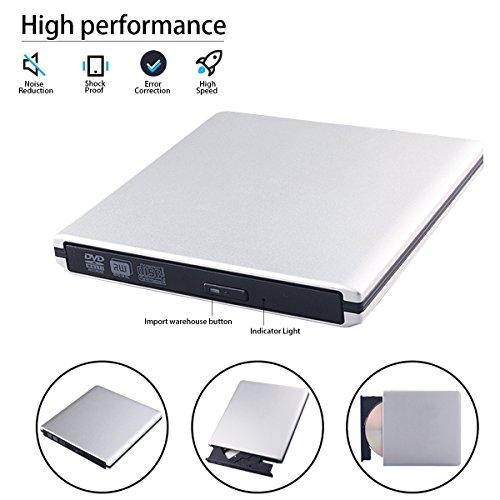 USB 3.0 External DVD CD Drive Burner,TENNBOO Portable CD/DVD-RW Burner Writer Player for Laptop Notebook PC Desktop Computer,High Speed Data Transfer (White)