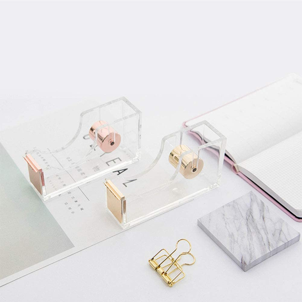 ROWEQPP Modern Acrylic Transparent Desktop Tape Dispenser Office Desk Supplies for Office School Home Rose Gold