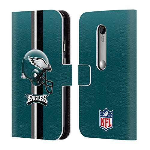 Official NFL Helmet Philadelphia Eagles Logo Leather Book Wallet Case Cover For Motorola Moto G (3rd Gen) (Moto G Case Head)