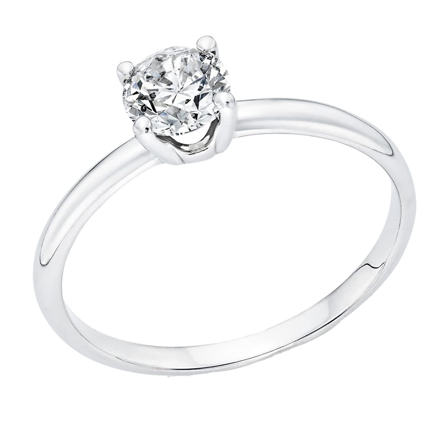 1/2 ct IGI Certified Diamond Engagement Ring in 14K White Gold (1/2 ct, L-M Color, I1-I2 Clarity)