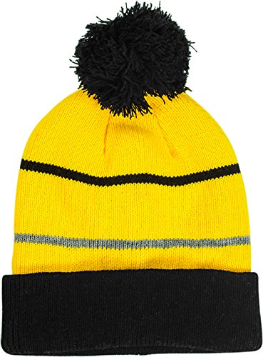Pompom hat - Variety of styles (One size, Black and yellow) (Ranger Adult Accessory Kit)