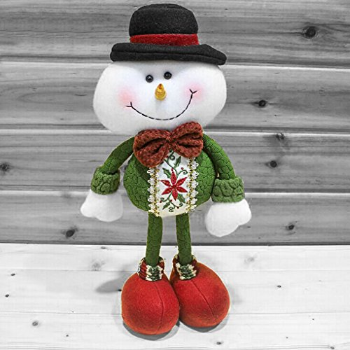 Christmas Decorations Standing Father Christmas Santa Claus Snowman Figure Plush Toy Doll Christmas Party Tree Hanging Decor Home Indoor Table Fireplace Shelf Sitter Figurine Ornament Decoration (Plush Standing Snowman)