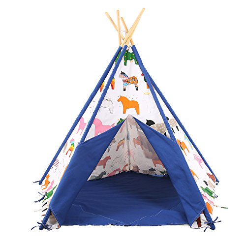 (Pericross Kids Teepee Tent Indian Play Tent Children's Playhouse Outdoor Indoor White (Blue Ponies))
