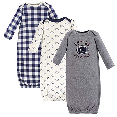 Hudson Baby Baby Cotton Gowns, Football 3-Pack, 0-6 -