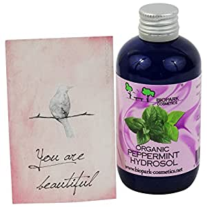 BIOPARK - Organic Peppermint Hydrosol - Purifies the skin - Soothes itchiness - 3.38 fl.oz