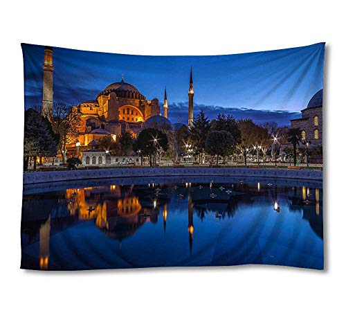 FHYGJD Blue Night Sultan Ahmed Mosque Istanbul Art Print Tapestries,Home Wall Decor Tapestry(30x45 - Mosque Sultan Ahmed