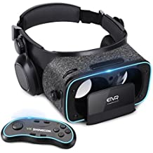 """3D VR Headset With Remote Controller for 3D Movies & VR Games, Skin-Friendly Lightweight Comfortable Virtual Reality Headset with Stereo Headphone, Fit for 4.7""""-6.2"""" iPhone and Android Smartphones"""