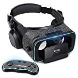 3D VR Headset With Remote Controller for 3D Movies & VR Games, Skin-Friendly Lightweight Comfortable Virtual Reality Headset with Stereo Headphone, Fit for 4.7''-6.2'' iPhone and Android Smartphones