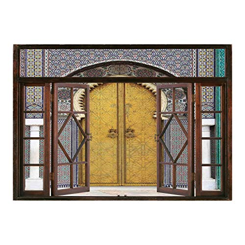 SCOCICI Peel and Stick Fabric Illusion 3D Wall Decal Photo Sticker/Arabian,Golden Door of Royal Palace in FES Morocco Vintage Moroccan Artwork Mosaic Style,Multicolor/Wall Sticker Mural