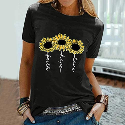 LROVEB WOMEN'S SUNFLOWER T-SHIRT CASUAL CUTE GRAPHIC TEES LOOSE PLUS SIZE SUMMER SHORT SLEEVE BLOUSE