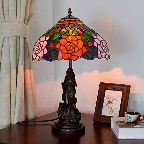 L.W.SURL Vintage Rosebush Tiffany Style Lámpara de Mesa Sala de ...
