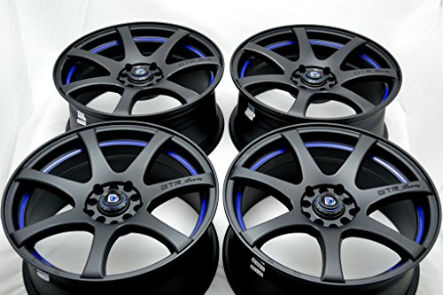 17″ Wheels Rims ddr zk15 Matt Black with Blue Undercut Finish 17×7.5 5×100 5×114.3 35mm Offset 5 Lugs Bolt Pattern 5×100/114.3 (Set of 4)