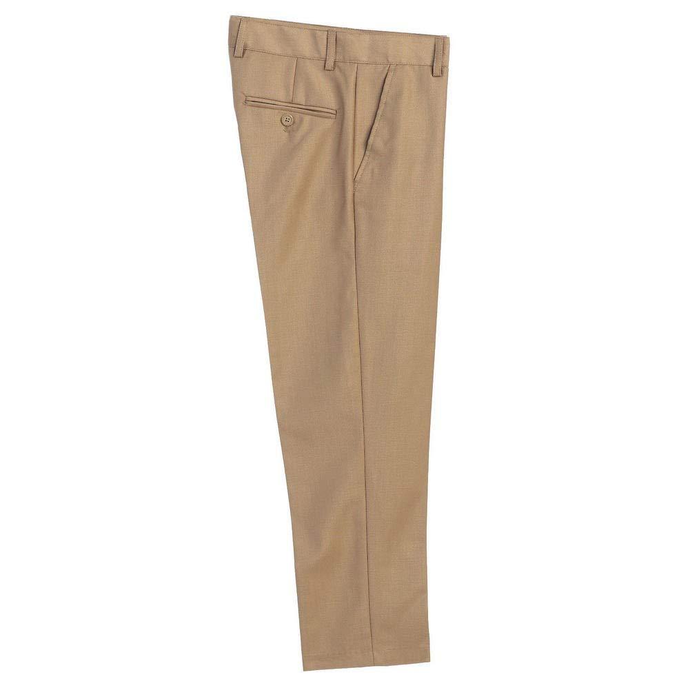Big Boys Khaki Flat Front Formal Special Occasion Dress Pants 8-18