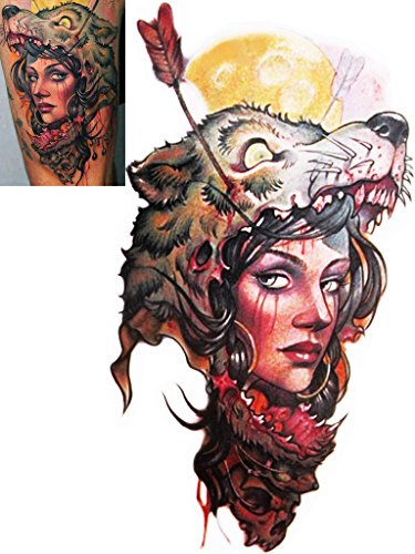 Novoskins Tattoo Artist Temporary Tattoo hand painted waterproof transfer 'Wolf Hunter' design (20cm x (Cute And Easy Hairstyles For Halloween)