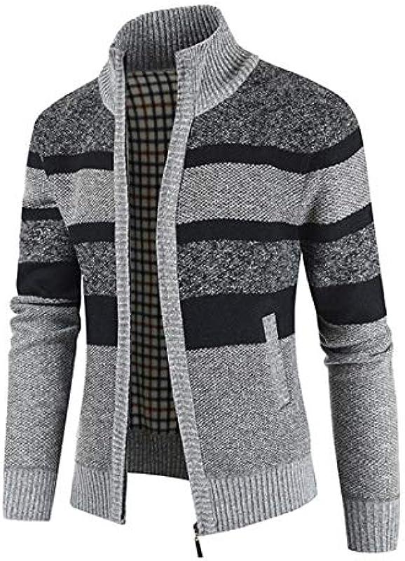 QJSZ Męskie Cardigan Outwear Feinstrick Mit Stehkragen Color Matching Reißverschluss Winter Warm Bequemer Casual Daily Wear Knit Outwear: Odzież