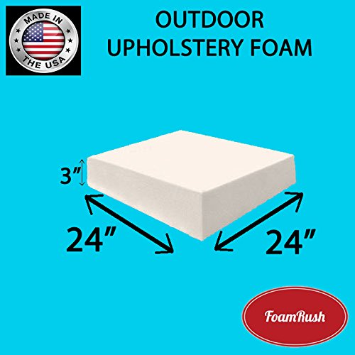 FoamRush Premium Quality Dryfast OUTDOOR Anti-Mildew Upholstery Foam Sheet for Outdoor & Marine Furniture (Chair Cushion Foam for Patio Furniture, Wheelchair Seat Cushion Replacement)(3