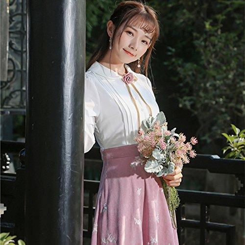 GAOLIM Dimensiones con Tres Pana XL Vestido Costura con Bordado Rosa Ramillete En Decorativa Blanco De raxgnrwqOY