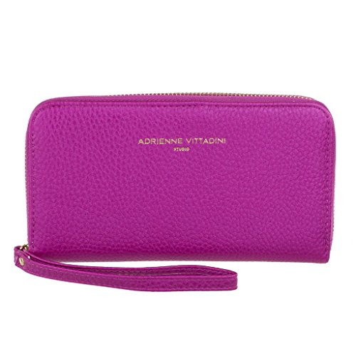 Adrienne Vittadini Charging Wristlet Wallet: Smartphone Zip Wallet Case with Phone Battery Charger Power Bank for Women and Girls - Fuschia Pebble