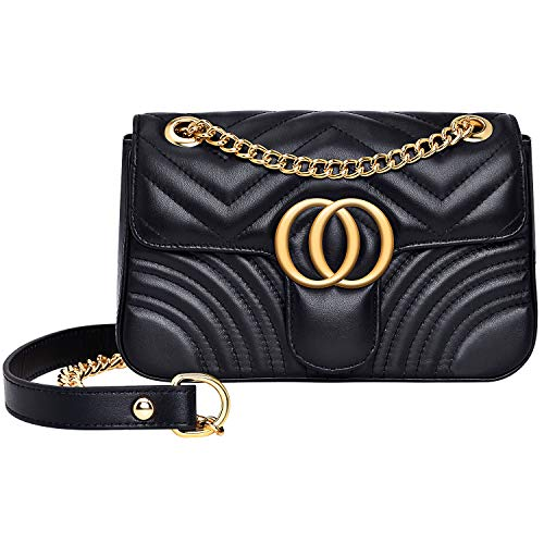 - Women Genuine Leather Shoulder Bag Ladies Fashion Clutch Purses Quilted Crossbody Bags With Chain - Black