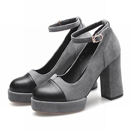 Mee Shoes Damen chunky heels Ankle strap Pumps Grau