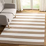 Safavieh Montauk Collection MTK712M Handmade Flatweave Sand and Ivory Cotton Area Rug (6' x 9')