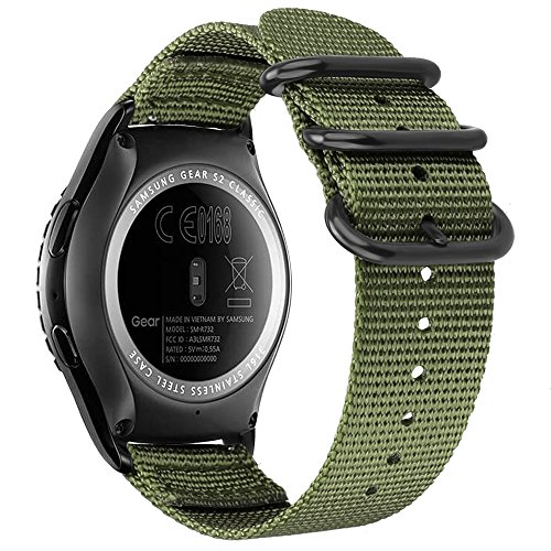 - Fintie for Galaxy Watch 42mm, Galaxy Watch Active Bands, 20mm Soft Nylon Replacement Strap Band with Adjustable Closure for Samsung Gear Sport and Gear S2 Classic Smartwatch, Olive