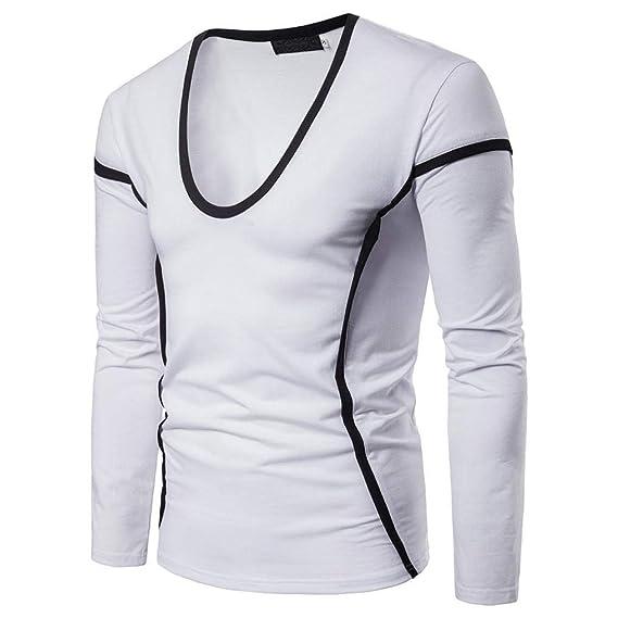 BaZhaHei-Camisetas de hombre Blusa de Hombre Hombres de Moda Casual O Cuello de Manga