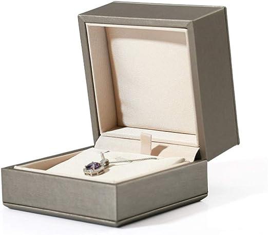 Caja de joyería Pendientes anillo colgante de la PU del caso de ...