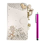 Cuitan Luxury Crystal Rhinestone Diamond Bling PU Leather Flip Stand Wallet Case Cover + Stylus for Lenovo K3...