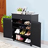 3 Shelves Home Shoe Closet Storage Organizer Cabinet Entryway Hallway Rack Black