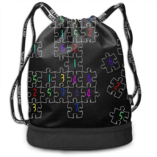 Portable Bundle Backpack, Sudoku Jigsaw Puzzle Pattern Drawstring Bag For Girls & Boys, Gym Yoga Runner Sports Daypack ()