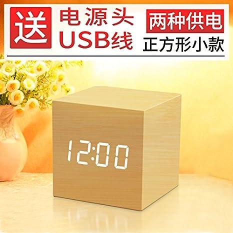 Y-Hui Reloj despertador de madera con diseño de arena para estudiantes, color blanco y madera de bambú: Amazon.es: Hogar