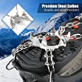 ZOTO Traction Cleats, Ice Snow Grips 19 Spikes Over Shoes/Bootes, Anti-Slip Stainless Crampons Hiking, Walking, Climbing, Jogging, Fishing, Running, Camping-Size L