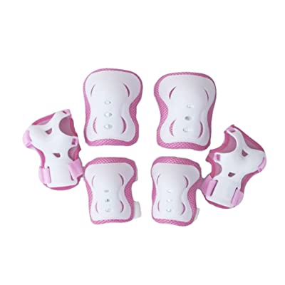 PURFUN Kids Girls Boys 6 in 1 Safety Protective Gear Knee Elbow Wrist Pads Set Adjustable Collision Avoidance Skate Roller Blading Biking Knee Braces Elbow Pads Wrist Support Guards Protector Kneepad : Sports & Outdoors