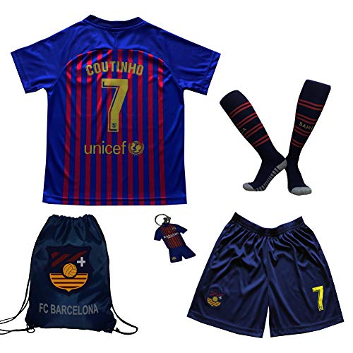 BIRDBOX Youth Sportswear Barcelona Coutinho 7 Kids Home Soccer Jersey/Shorts Bag Keychain Football Socks Set (Home, 9-10 - 10 Kids Jerseys Football