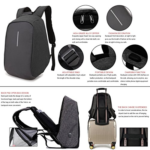 Anti College for Men Hidden Bag Compartment Lightweight Charging Black Port Travel Backpack and Women Waterproof Laptop Zipper USB Daypack with with Business thief ONENICE rq6Hwpr