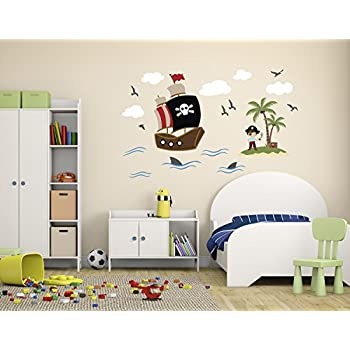 Pirate Theme Wall Decal   Pirate Wall Decals   Nursery Wall Decals   Ship  Wall Decor