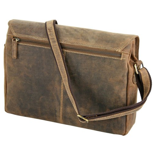 cm brown Vintage bolso Sattelbraun bandolera Greenburry 34 piel wYXOqfCx
