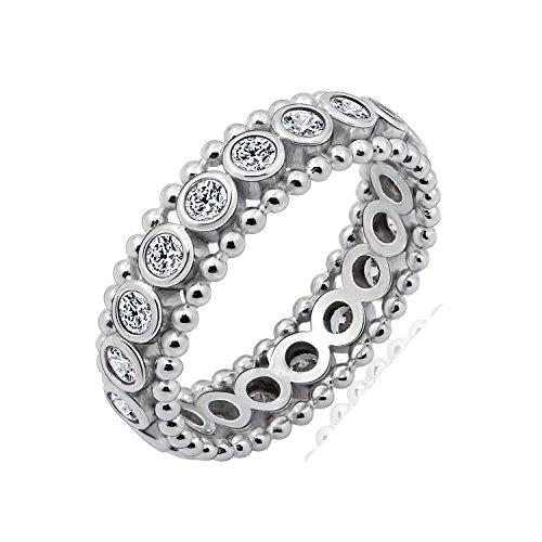 Diamonbliss Sterling Silver Cubic Zirconnia Bezel Set Bead Design Ring Size-8