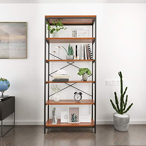 Homevol Bookcase Book Shelves 5-Shelf Bookshelf Industrial Style Metal and Solid Wood Free Vintage Standing Storage Shelf Units