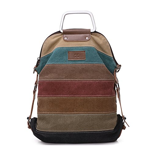 PILER Women Canvas Large Capacity Striped Schoolbag Casual Travel Backpack for 14 inch Laptop Korean Style (vintage)